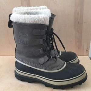 Sorel Caribou Gray Leather Rubber Boots, 8.5/9